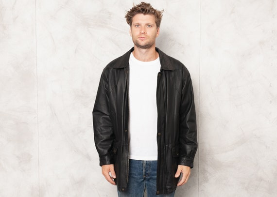 Vintage 90s Black Winter Leather Jacket Vintage Le
