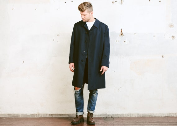 Brown Vintage Trench Coat . Mens Detective Coat 70s Coat Film Noir Topcoat Vintage 1970s Long Duster Jacket Outerwear . size Extra Large XL