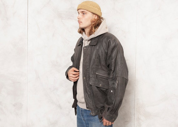 Grey Leather Jacket Men Vintage 90s Oversized Men… - image 3