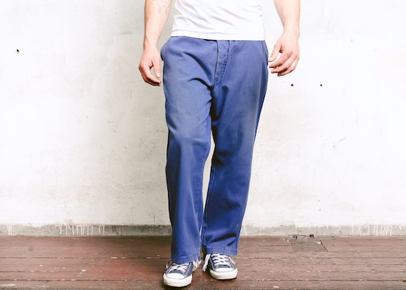 90s Men Chore Pants .  Blue 1990s Work Pants Men A