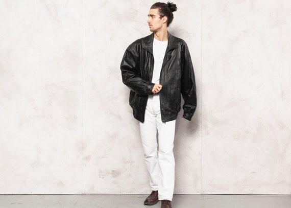 Black Leather Jacket 90s Vintage Leather Moto Jack