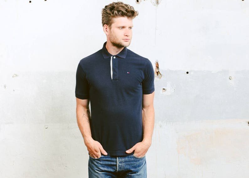 122895e9 Tommy Hilfiger Polo Shirt . Vintage 90s Navy Blue Polo | Etsy