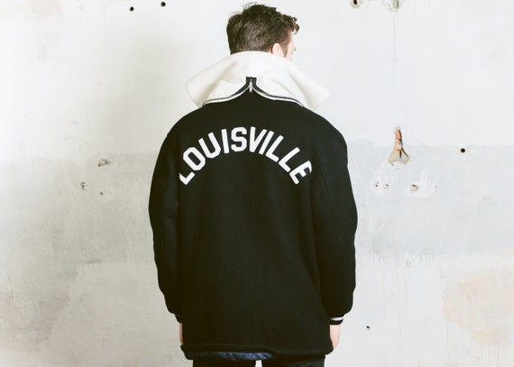 LOUISVILLE Sports Large size Mens VARSITY 70s Black JACKET Outerwear Wool Jacket Hooded Vintage Coat Jacket Bomber Letterman Insulated w7qTpfvf