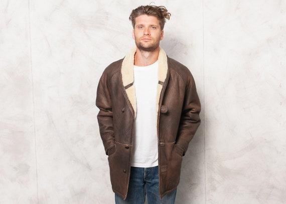 Vintage 70s Leather Men Jacket . 70s Brown Leather