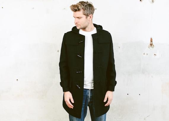 Black Wool Blend Duffle Coat . Vintage Hooded Coat