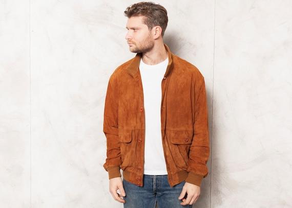 Suede Bomber Jacket Vintage 90s Mens Leather Jacke