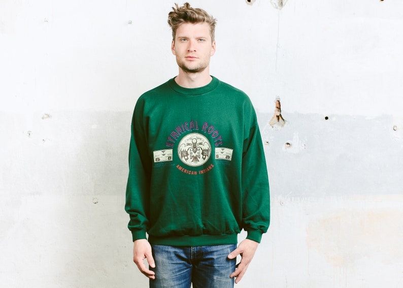 Vintage Men/'s Round Collar Sweater Unisex Green Printed Oldschool Hip Hop Clothing size Extra Large XL 80s Graphic Print Sweatshirt