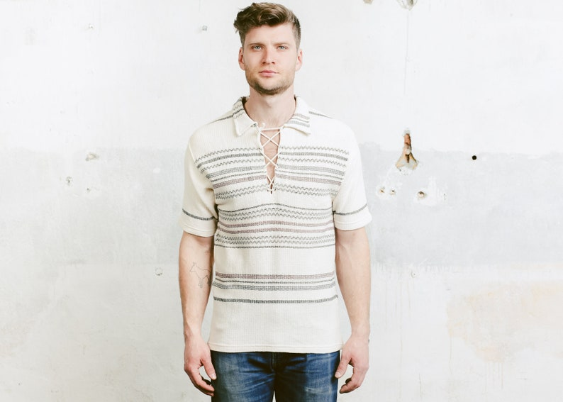 9bbeb8e6 Men Vintage Polo Shirt . Aztec Southwestern T-shirt Summer | Etsy