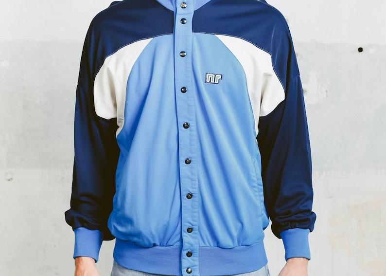 Medium Large Vintage TRACK Jacket 90s Men/'s Retro Sportswear Activewear Colourblock Rave Jacket Blue Snap Button Athleisure Bomber