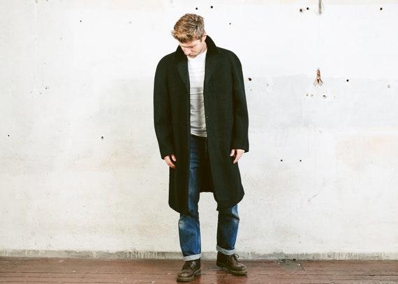 Mens Wool Coat . Vintage 70s Overcoat Black Jacket