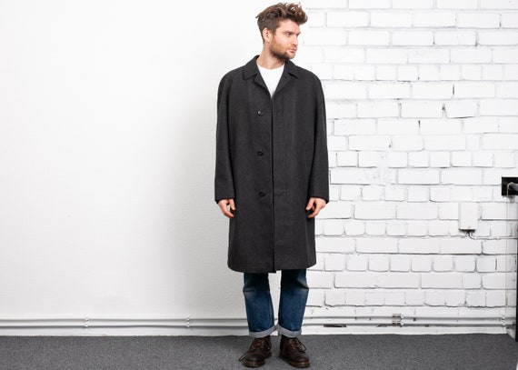 Grey 70s Wool Overcoat . Vintage Men Winter Coat 1
