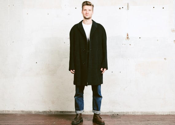 size Extra Large XL 50s Men Wool Overcoat 1950s Black Topcoat Greatcoat Jacket Men Overcoat Winter Coat Vintage Men Cocoon Coat