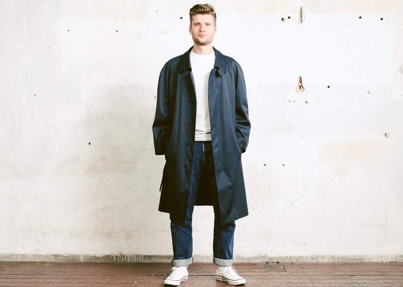 release info on new arrival 2019 real Mens Navy Blue Mac Coat . 80s Oversized Duster Coat Lightweight Coat Jacket  Navy Blue Mac Spring Coat Topcoat . size 58 Extra Large XL XXL