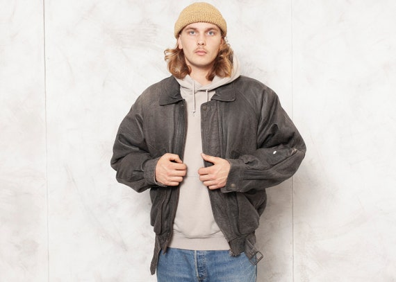 Grey Leather Jacket Men Vintage 90s Oversized Men… - image 1