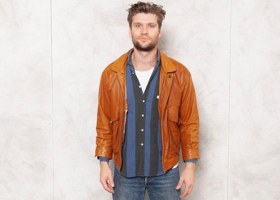 80's Leather Jacket Vintage Men Brown Bomber Jacke