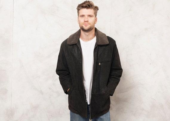 Vintage 90's Suede Jacket Men Casual Jacket 90s Zi
