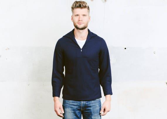 Mens Vintage Sailor Jacket . Blue Wool Shirt Naval