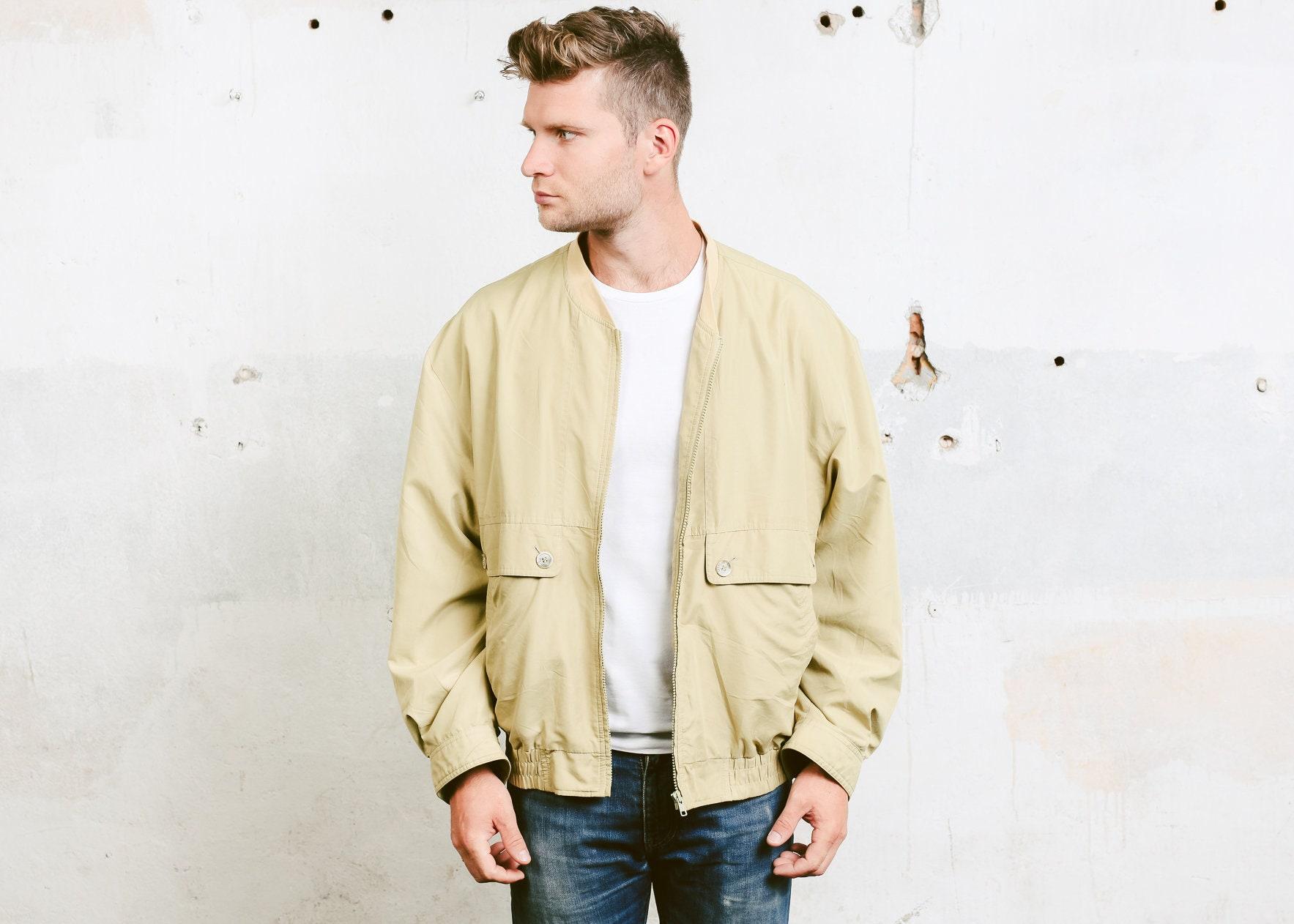 Men Lightweight Jacket Vintage 90s Beige Jacket Jacket Zip Up