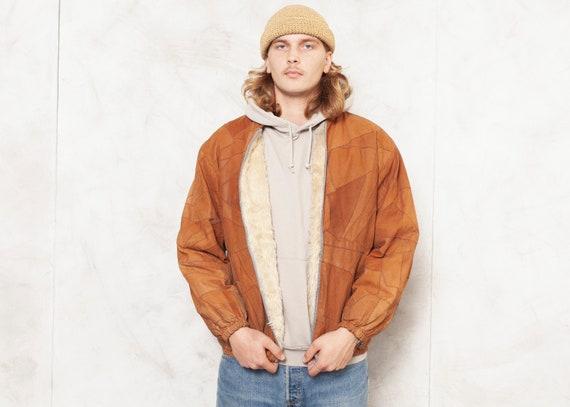 Leather Patchwork Jacket 70s Vintage Men Bomber Ja