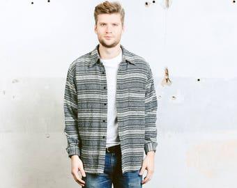 Aztec Shirt . Mens Monochrome SOUTHWESTERN Grey Black Striped Shirt Flannel Jacket Button Down . size Extra Large XL