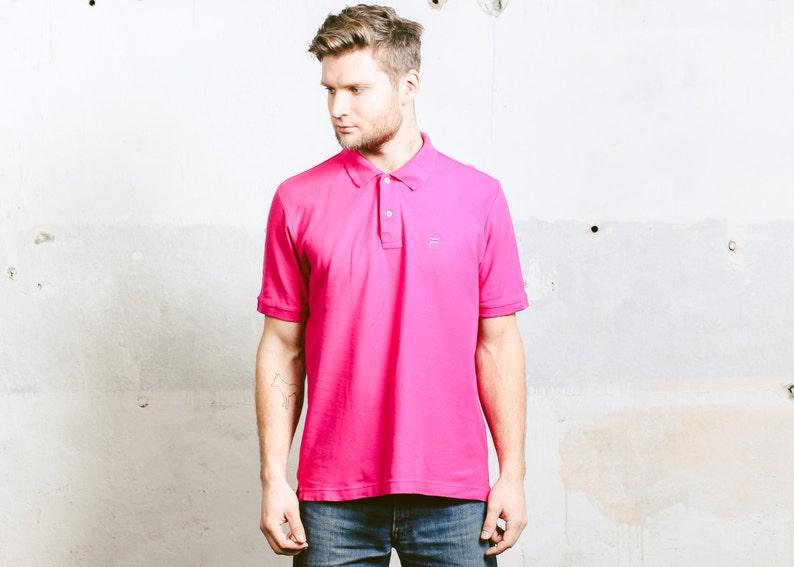 95435867 90s Vintage FILA Polo Shirt . Menš Bold Pink 1990s Men's | Etsy