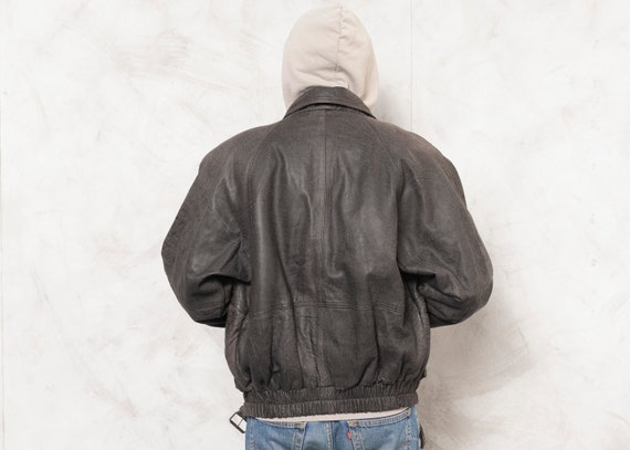 Grey Leather Jacket Men Vintage 90s Oversized Men… - image 4