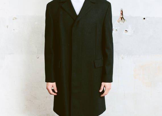 Mens Black WOOL COAT . Vintage Pea Coat Luxurious… - image 4
