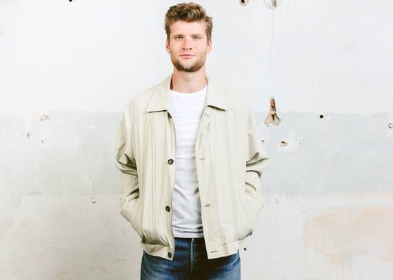 Beige Bomberjacke. Herren Mantel Vintage 80er Jahre Jacke Outerwear Flight Aviator Jacke minimalistische Jacke. Größe Extra Large