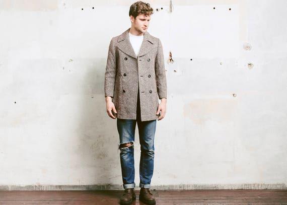 Speckled Wool Pea Coat . Vintage 1970s Pea Coat To