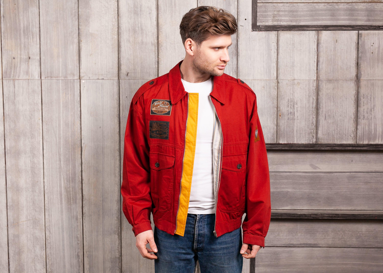 Vintage windbreaker jacket 90s red jacket nature