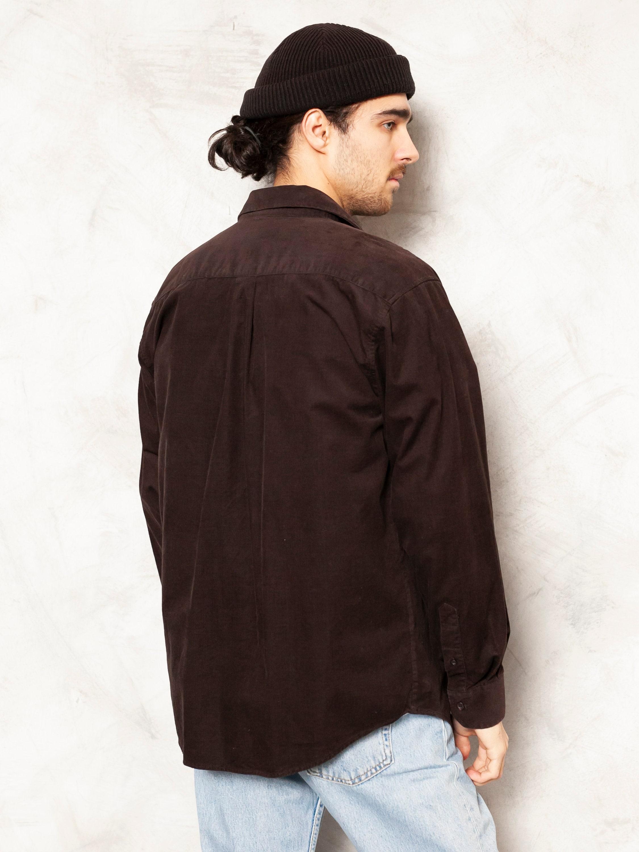 Brown Corduroy Shirt oxford vintage 90s long sleeve shirt casual cotton shirt everyday shirt vintage cord shirt retro streetwear size medium