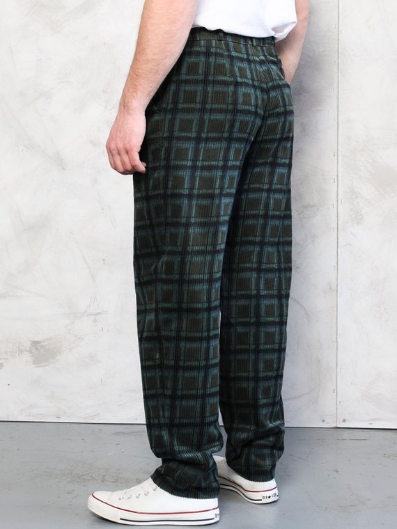 Plaid Corduroy Pants vintage 80s dark green cord … - image 4