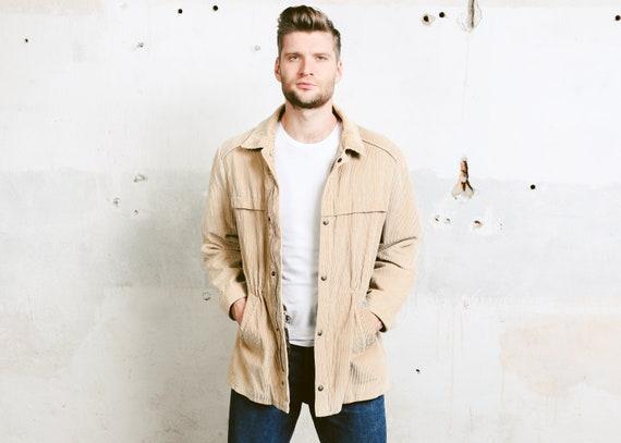 Mens Vintage Corduroy Jacket . Beige Men's Jacket 80s   Etsy