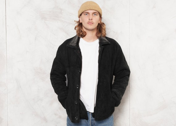 Black Suede Jacket Men Vintage Men Winter Jacket L