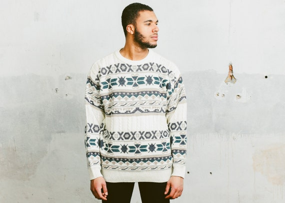 Size S vintage pattern jumper 90s abstract print green sweatshirt