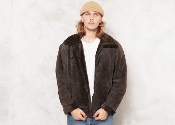 Leather Bomber Jacket Vintage 80s Faux Fur Mens Sh