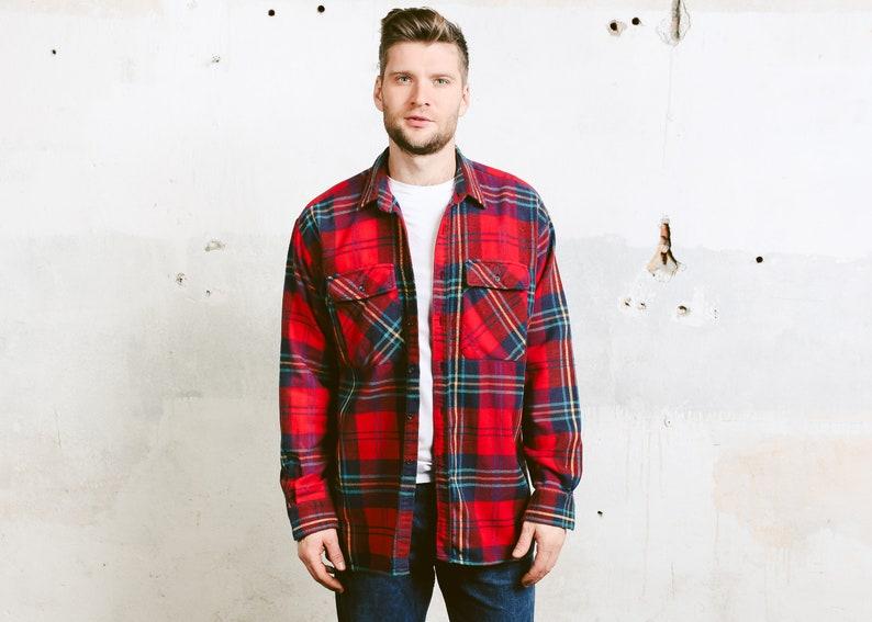 Men Vintage Lumberjack Shirt 90s Plaid Check Print Thick Etsy