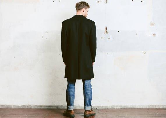 Mens Black WOOL COAT . Vintage Pea Coat Luxurious… - image 3