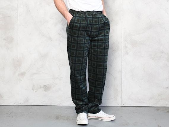 Plaid Corduroy Pants vintage 80s dark green cord … - image 1