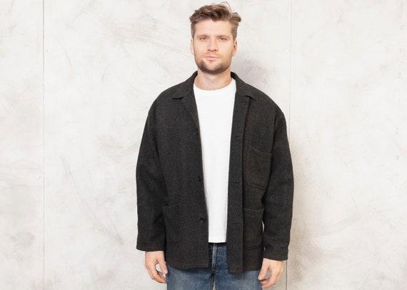 Thick Wool Jacket Dark Gray Vintage 80s Men Jacket