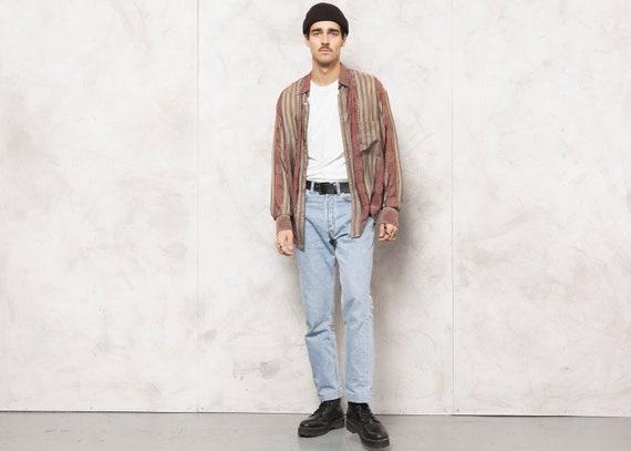 Patterned Silk Shirt Vintage Disco Shirt 1990s Lon