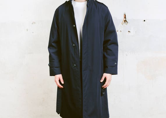 1980s Warm Jacket Mens L Long 80s Outerwear size Coat Longcoat Boyfriend Coat Vintage Large Blue Gift Cocoon Overcoat in Navy q1tPSw