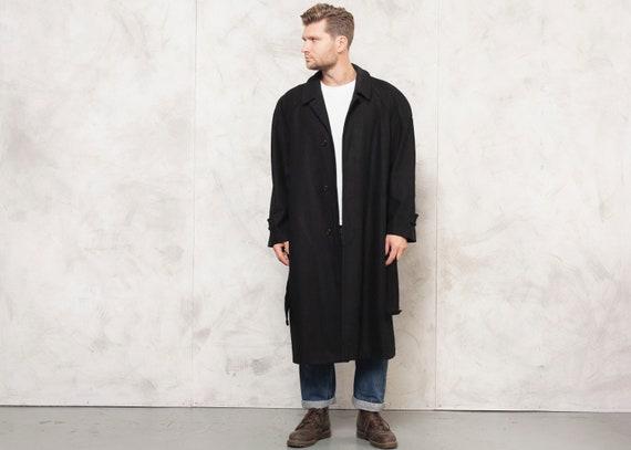 Vintage Black Coat Mens 90s Wool Coat Casual Winte