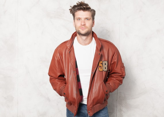Leather Bomber Jacket Red Vintage Flight Jacket Pu