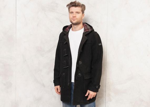 Black Duffle Coat Men Vintage 90s Winter Overcoat