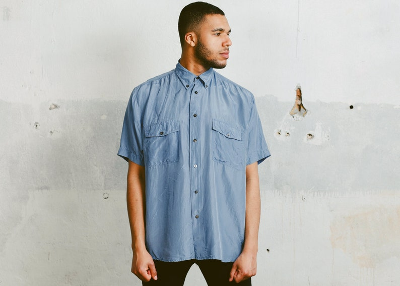 50de26835efadc Men s Washed SILK SHIRT . Blue Shirt 90s Oversized Skater