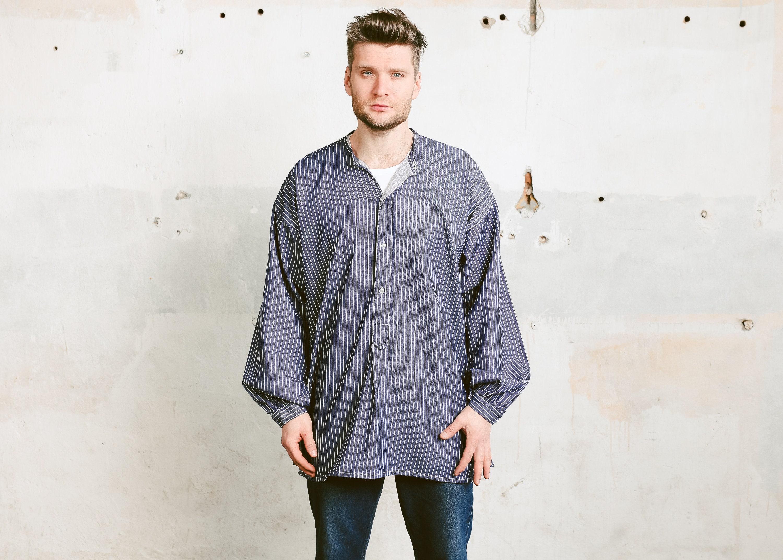 Mens Collarless Work Shirt Vintage Mens Striped Workwear