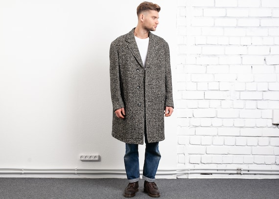 Speckled 70s Wool Coat . Vintage 1970s Men Winter
