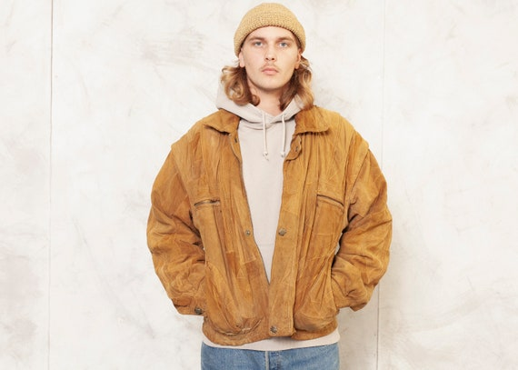 90s Men Suede Jacket Vintage Unisex Jacket Brown S