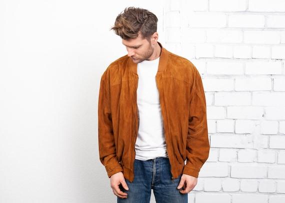 Suede Bomber Jacket . Men's Vintage Burnt Orange L